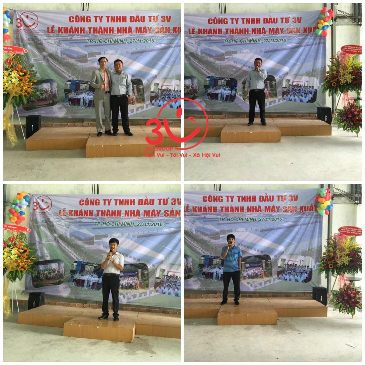 Tổng giám đốc và mọi người cùng nhau chia sẻ trong Lễ Khánh thành
